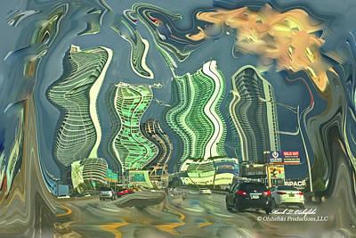 Miami Skyline Digital Art - Abstract Miami Beach Fl Img_6327 by Mark Olshefski