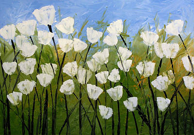 Abstract Modern Floral Art White Tulips By Amy Giacomelli Art Print