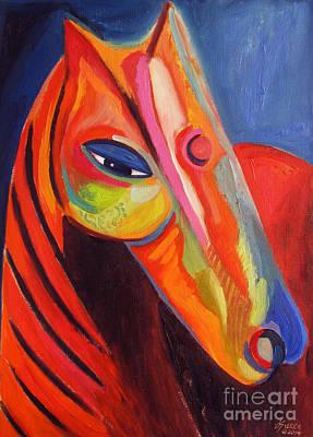 Abstract Modern Horse Head Art Print by Dania Sierra