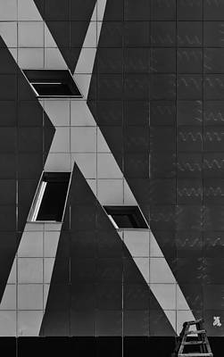 Photograph - Abstract Monochrome Building by John Williams