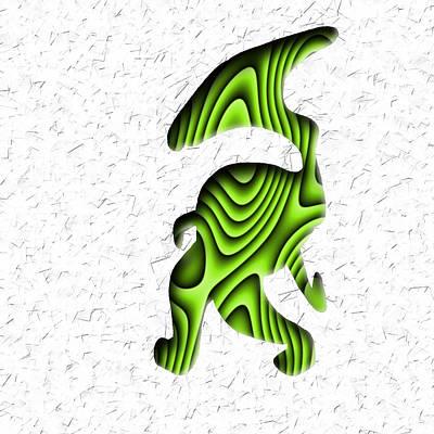 Abstract Monster Cut-out Series - Green Stroll Art Print