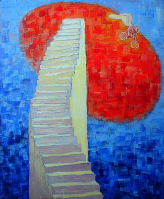 Art Print featuring the painting Abstract Moon by Ana Maria Edulescu