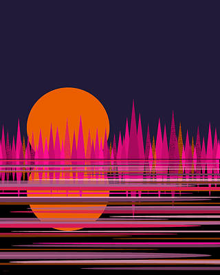 Digital Art - Abstract Moon Rise In Pink by Val Arie