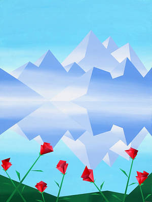 Cubism Painting - Abstract Mountain Lake Reflection With Red Flowers by Mark Webster