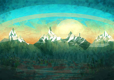 Cyan Digital Art - Abstract Mountain by Thubakabra