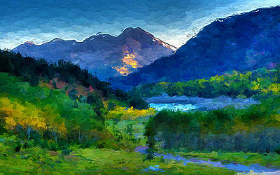 Mixed Media - Abstract Mountain Vista  by Anthony Fishburne