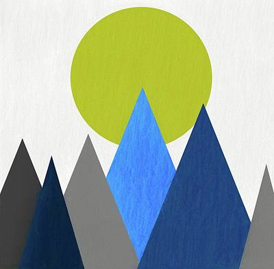 Teton Digital Art - Abstract Mountains And Sun by Dan Sproul