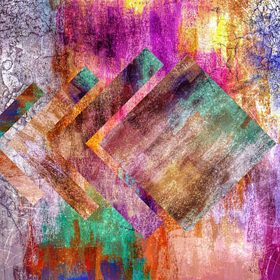 Multi Colored Mixed Media - Abstract Multi Colored Angled Square by Brandi Fitzgerald