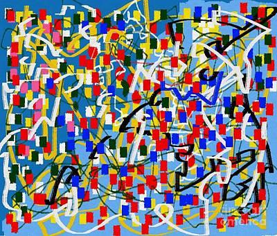 Eliso Digital Art - Abstract Multicolor Blue Ing by Eliso Ignacio Silva