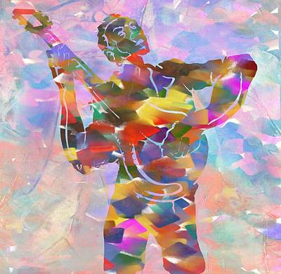 Abstract Musican Guitarist Art Print by Dan Sproul