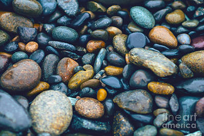Photograph - Abstract Nature Tropical Beach Pebbles 923 Blue by Ricardos Creations