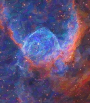 Cosmic Painting - Abstract Nebulla With Galactic Cosmic Cloud 29 by Celestial Images