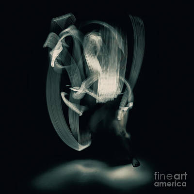 Photograph - Abstract Nude Dancing With Torches 002 by Clayton Bastiani