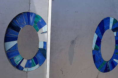 Abstract Of Two Blue Circles On A Wall Art Print