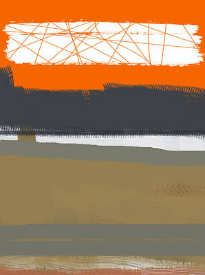 Line Painting - Abstract Orange 1 by Naxart Studio
