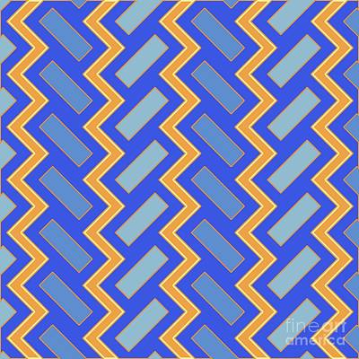 Santa Monica Digital Art - Abstract Orange, Blue And Cyan Pattern For Home Decoration by Pablo Franchi