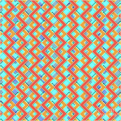 Modernart Digital Art - Abstract Orange, Cyan And Red Pattern For Home Decoration by Pablo Franchi