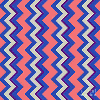 Santa Monica Digital Art - Abstract Orange, Pink And Blue Pattern For Home Decoration by Pablo Franchi