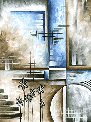 Abstract Original Art Contemporary Blue And Gray Painting By Megan Duncanson Blue Destiny II Madart Original