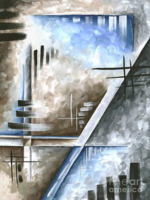 Abstract Original Art Contemporary Blue And Gray Painting By Megan Duncanson Blue Destiny IIi Madart Original