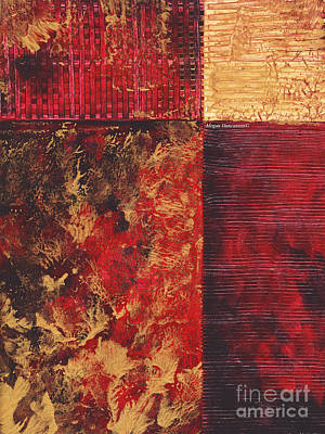Abstract Original Painting Contemporary Metallic Gold And Red Texture Madart Art Print by Megan Duncanson