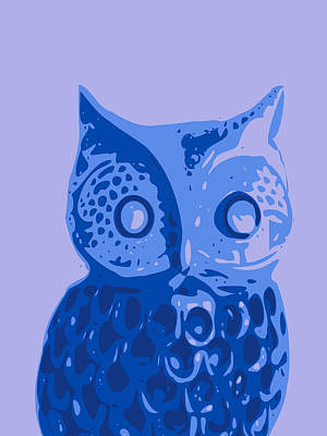 Abstract Owl Digital Art - Abstract Owl Contours Blue by Keshava Shukla