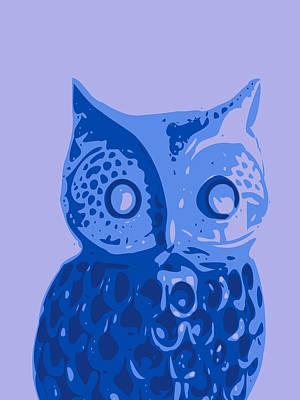 Owl Digital Art - Abstract Owl Contours Blue by Keshava Shukla