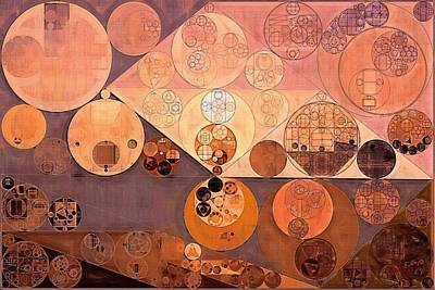 Round Digital Art - Abstract Painting - Bordeaux by Vitaliy Gladkiy