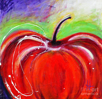 Abstract Painting Of A Red Apple Original by Johane Amirault