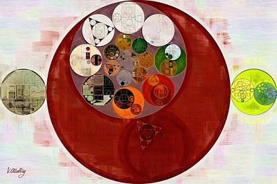 Round Digital Art - Abstract Painting - Up Maroon by Vitaliy Gladkiy