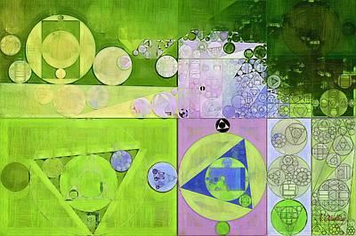 Ornamental Digital Art - Abstract Painting - Yellow Green by Vitaliy Gladkiy