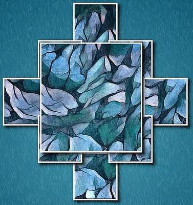 Digital Art - Abstract Panels In Teal by Megan Walsh