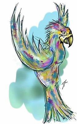 Digital Art - Abstract Parrot 2  by Darren Cannell