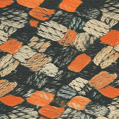 Mixed Media - Abstract Pattern Black And Orange by Lita Kelley