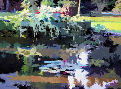 Painting - Abstract Patterns On The Lily Pond by John Lautermilch
