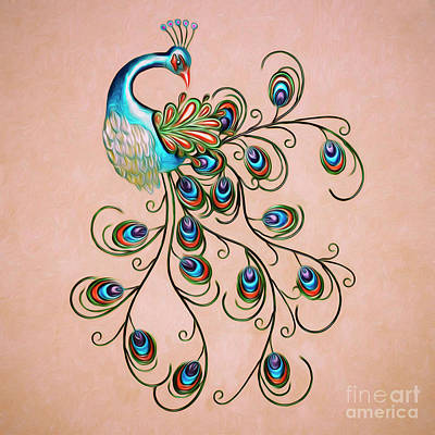 Digital Art - Abstract Peacock by Walter Colvin