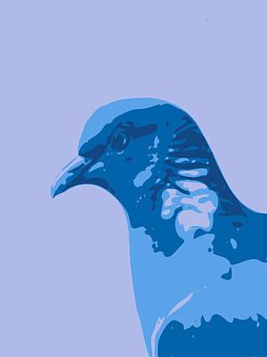 Teracotta Digital Art - Abstract Pegion Contours Blue by Keshava Shukla