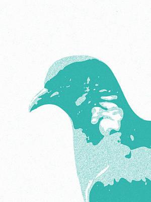 Teracotta Digital Art - Abstract Pegion Contours Cyan by Keshava Shukla