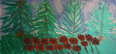 Pouring Painting - Abstract Pine Forest With Poppies by Adam Asar
