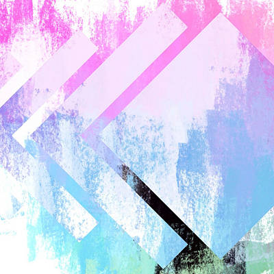 Nautical Animals - Abstract Pink and Blue Square Angles by Brandi Fitzgerald
