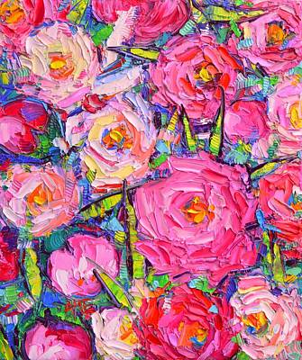 Painting - Abstract Pink Peonies Modern Textural Impressionist Impasto Knife Oil Painting By Ana Maria Edulescu by Ana Maria Edulescu