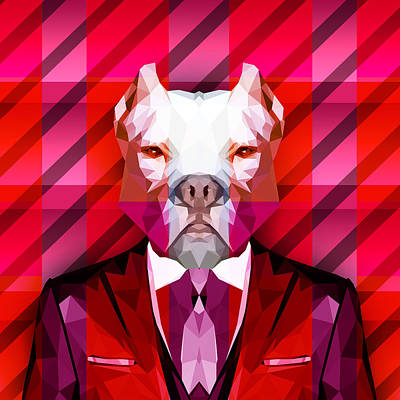 Abstract Pitbull 1 Art Print by Gallini Design