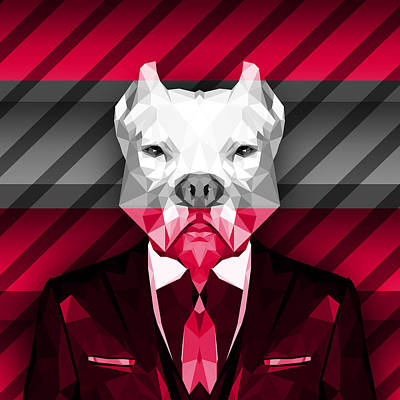Big Dogs Digital Art - Abstract Pitbull 2 by Gallini Design