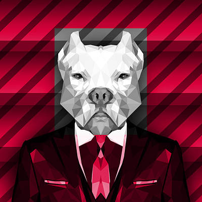 Abstract Pitbull 3 Art Print by Gallini Design