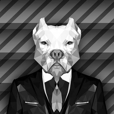 Abstract Pitbull 4 Art Print by Gallini Design