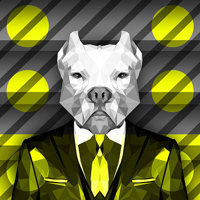 Big Dogs Digital Art - Abstract Pitbull 5 by Gallini Design
