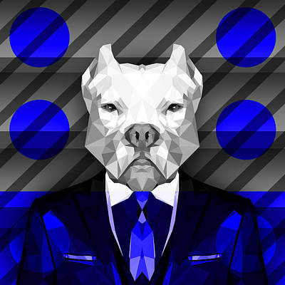 Big Dogs Digital Art - Abstract Pitbull 6 by Gallini Design