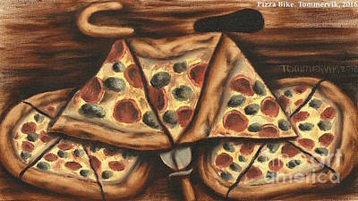 Bicycles Painting - Abstract Pizza Bicycle Painting by Tommervik