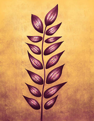 Digital Art - Abstract Plant With Pointy Leaves In Purple And Yellow by Boriana Giormova