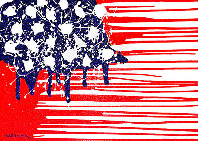 Painting - Abstract Plastic Wrapped American Flag by Cristophers Dream Artistry